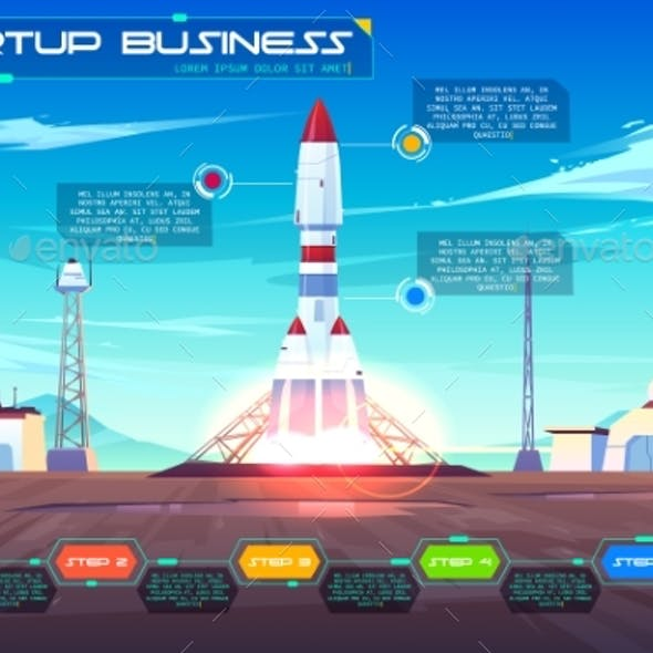 Startup Business Launching Cartoon Vector Banner