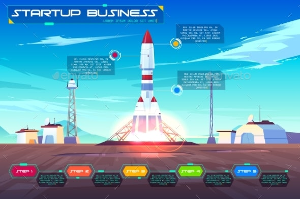 Startup Business Launching Cartoon Vector Banner - Concepts Business