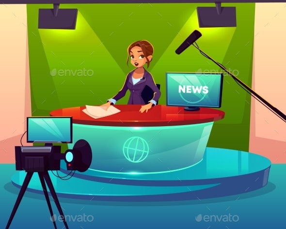 News Presenter in Television Studio Cartoon Vector - Media Technology