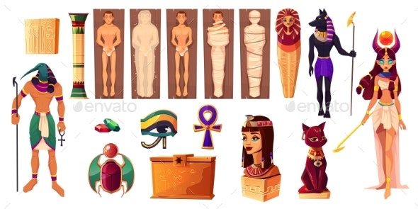Egyptian Gods Thoth and Hathor Ancient Attributes - Miscellaneous Vectors