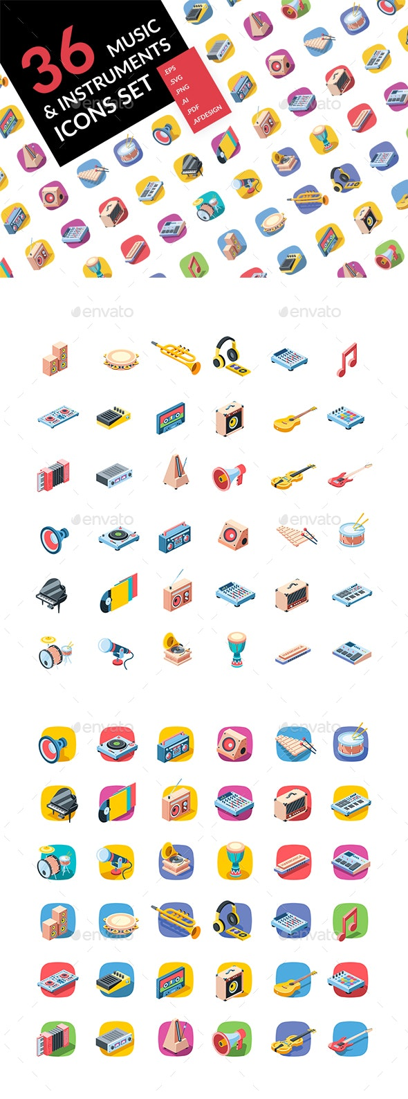 Music Isometric colors icons set - Icons