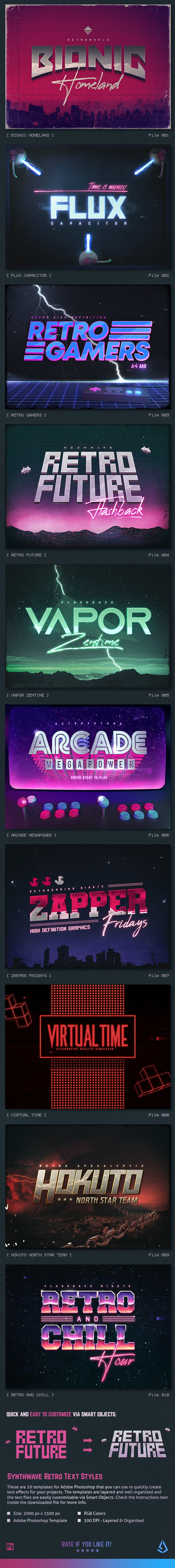 Synthwave 80s Retro Text Effects V2 - Text Effects Actions