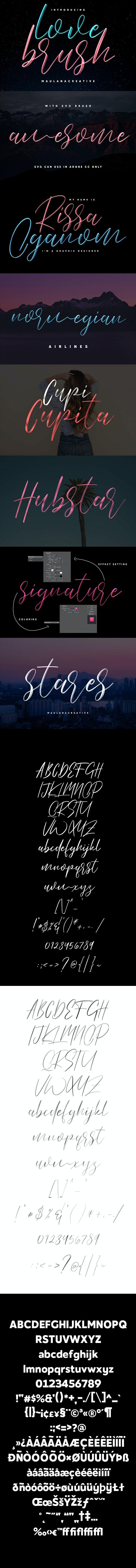 Love Brush SVG Font Free Sans - Hand-writing Script