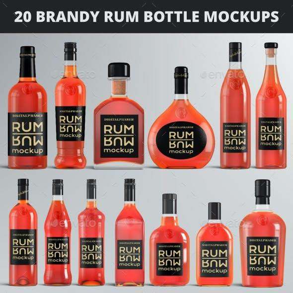 20 Brandy Rum Bottle Mockups