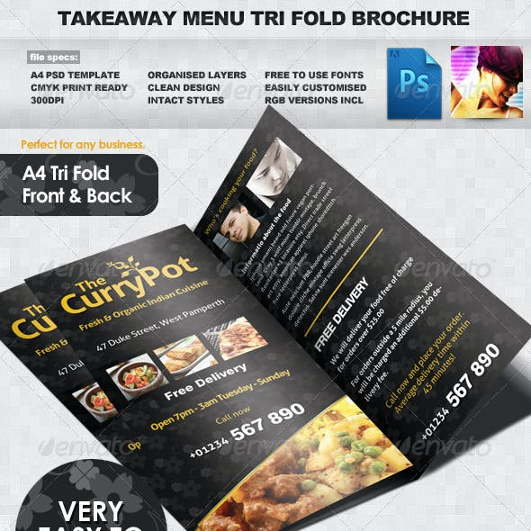 Takeaway Food Menu Trifold Brochure Template