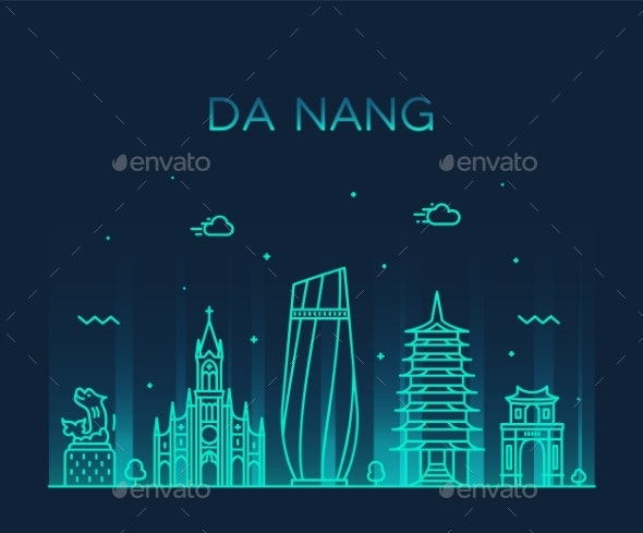 Da Nang Skyline Vietnam Trendy Vector Linear Style - Buildings Objects