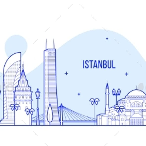 Istanbul Skyline Turkey City Buildings Vector Line