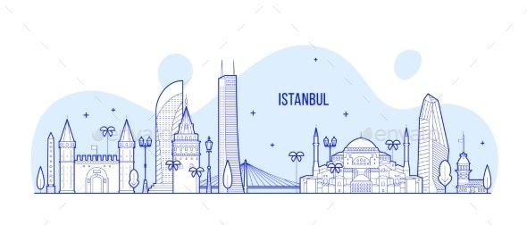 Istanbul Skyline Turkey City Buildings Vector Line - Buildings Objects
