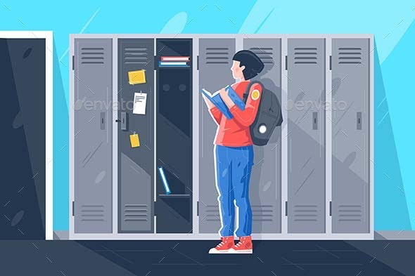 Flat Young Girl with Book at School Lockers - Miscellaneous Vectors