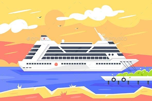 Flat Cruise Ship for Sea Travel and Passenger - Man-made Objects Objects