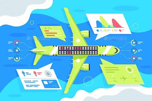 Flat Airplane Infographics with Passenger - Man-made Objects Objects