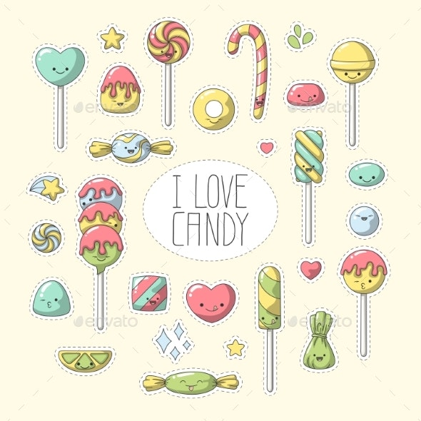 Candy Sticker Set - Miscellaneous Characters