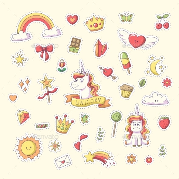 Unicorn Sticker Set - Miscellaneous Vectors