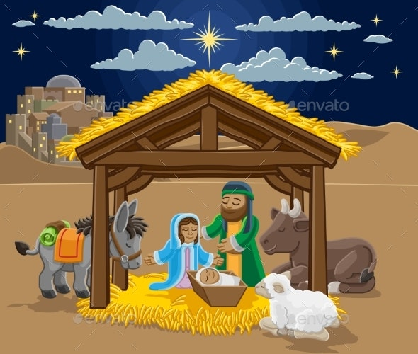 Christmas Nativity Scene Cartoon - Christmas Seasons/Holidays