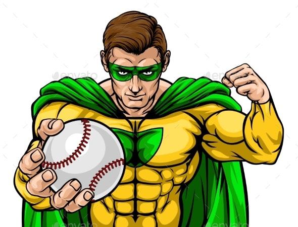Superhero Holding Baseball Ball Sports Mascot - People Characters