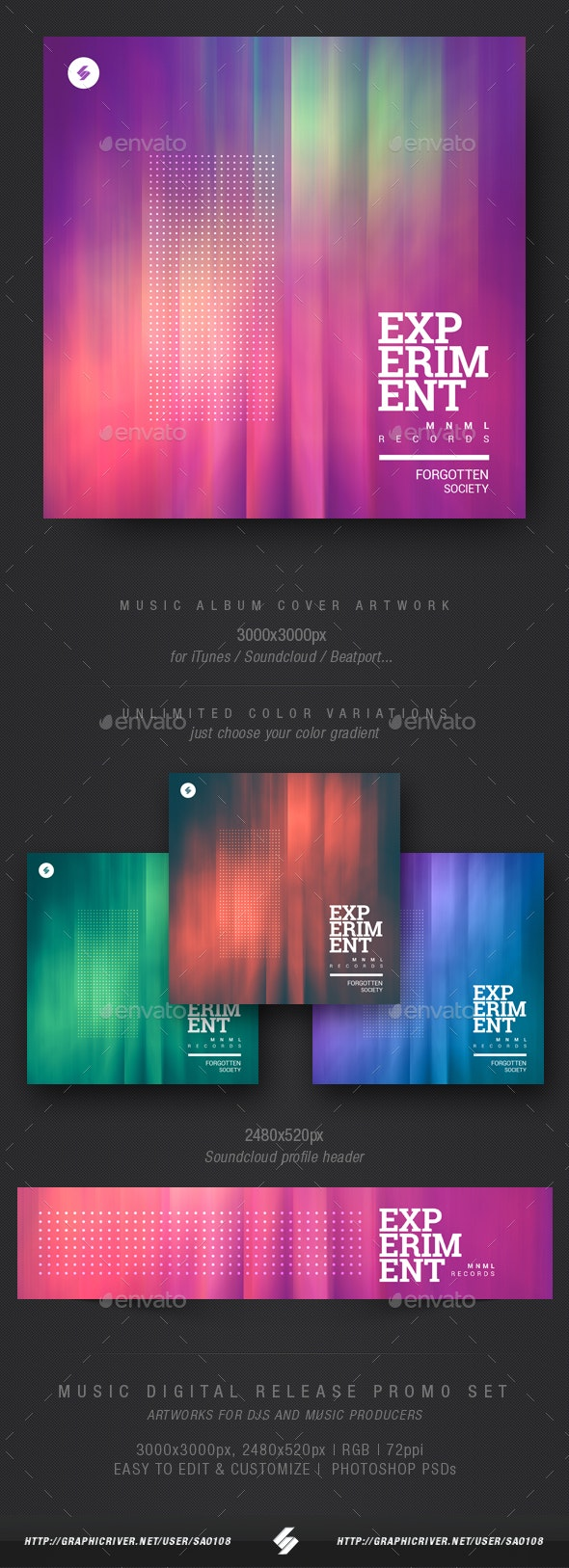 Experiment - Electronic Music Album Cover Template - Miscellaneous Social Media