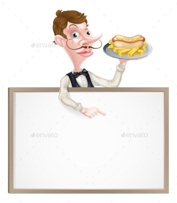 Cartoon Hotdog and Fries Waiter Sign - Miscellaneous Vectors