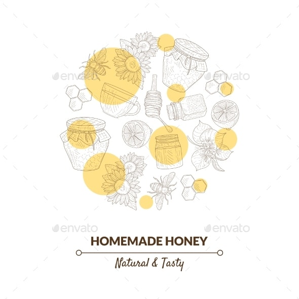 Organic Honey Banner Template with Hand Drawn - Food Objects