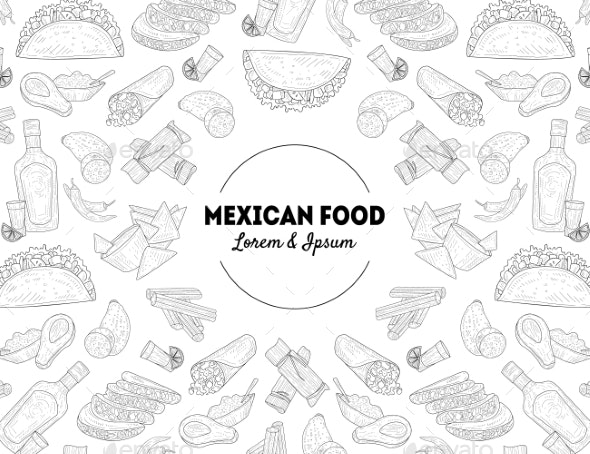 Mexican Food Banner Template with Hand Drawn - Food Objects