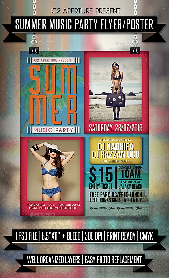 Summer Music Party Flyer / Poster - Clubs & Parties Events