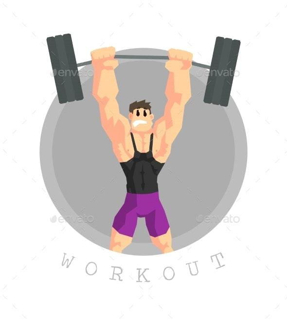 Muscular Man Rising Barbell - Sports/Activity Conceptual