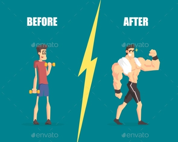 Weak and Muscular Man Before and After - Sports/Activity Conceptual