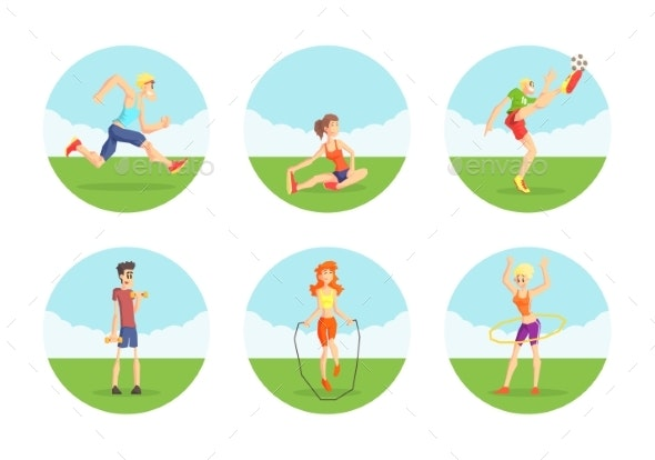 People Doing Sports in Nature Set - Sports/Activity Conceptual