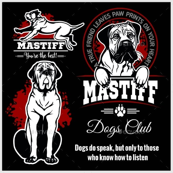 Mastiff Vector Set for T-Shirt