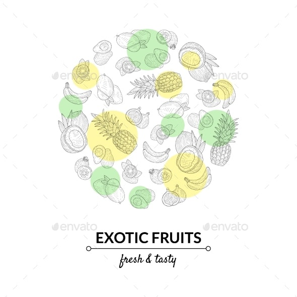 Exotic Fruits Banner Template - Food Objects