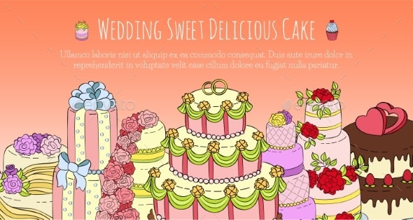 Wedding Delicious Cake Set of Banners Vector - Weddings Seasons/Holidays