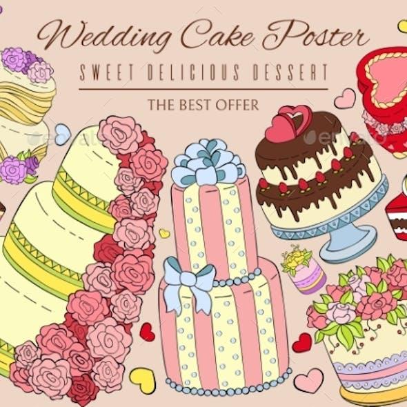 Wedding Cake Poster Vector Illustration