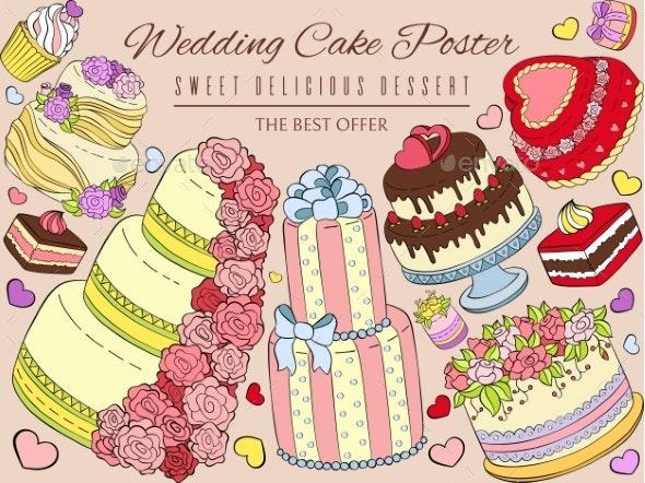 Wedding Cake Poster Vector Illustration - Weddings Seasons/Holidays