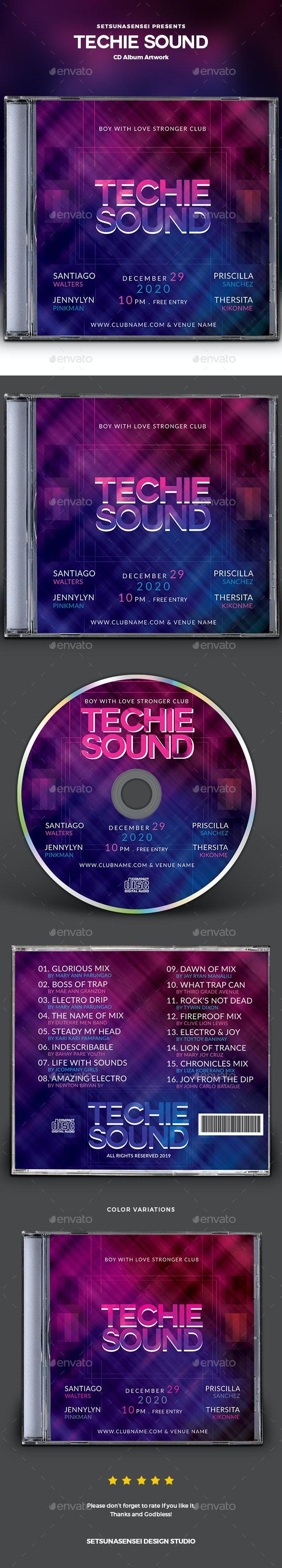 Techie Sound CD Album Artwork - CD & DVD Artwork Print Templates
