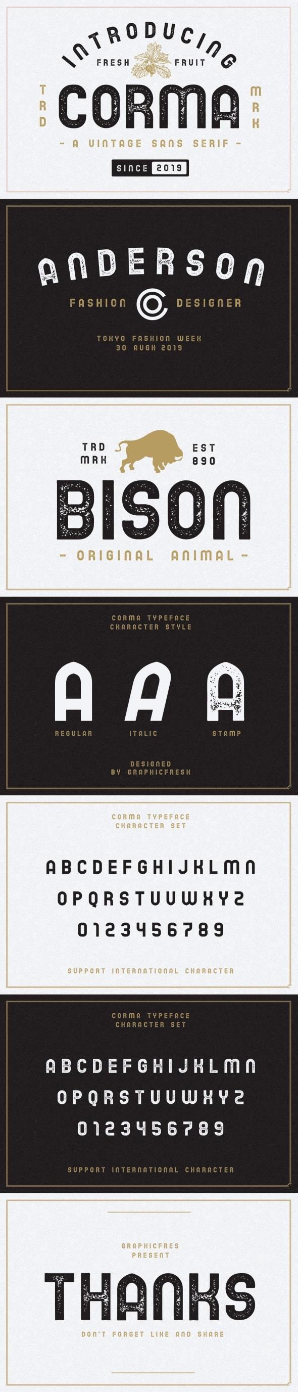 The Corma – 4 Font Files - Sans-Serif Fonts