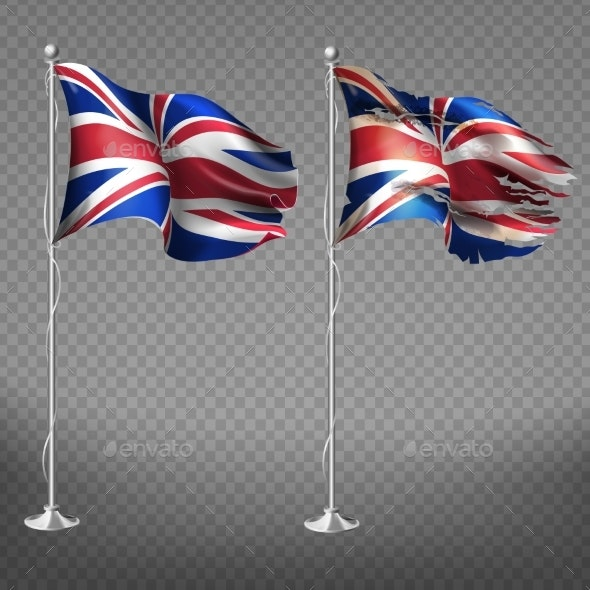 New and Shabby Great Britain Flag Vector - Man-made Objects Objects