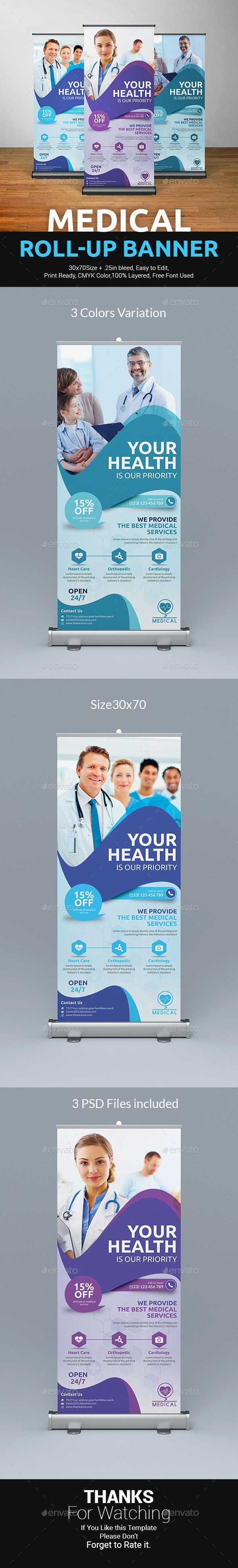 Medical Roll-Up Banner Template - Signage Print Templates