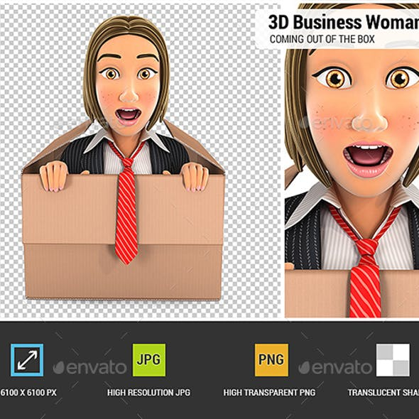3D Business Woman Coming Out of The Box