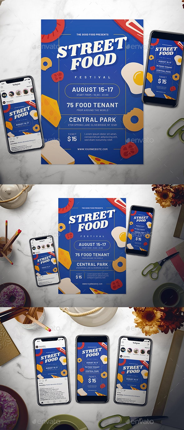 Street Food Festival Flyer Set - Events Flyers