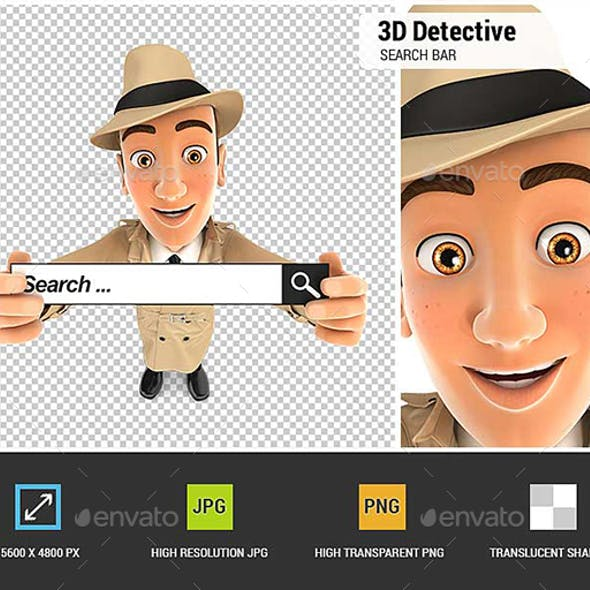 3D Detective Holding a Search Bar