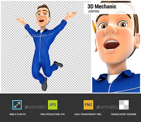 3D Mechanic is Jumping - Characters 3D Renders