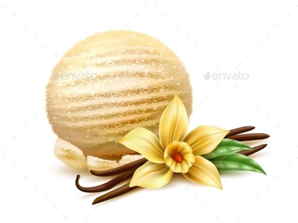 Vector Realistic Ice Cream Scoop Vanilla Flower - Food Objects