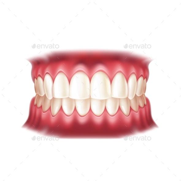 Vector Realistic Dentures Human Mouth with Teeth - Health/Medicine Conceptual
