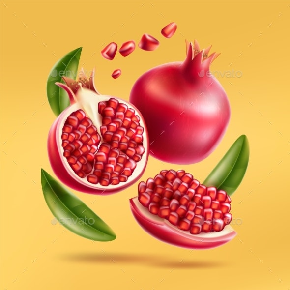 Vector Realistic Pomegranate with Seeds and Leaves - Food Objects