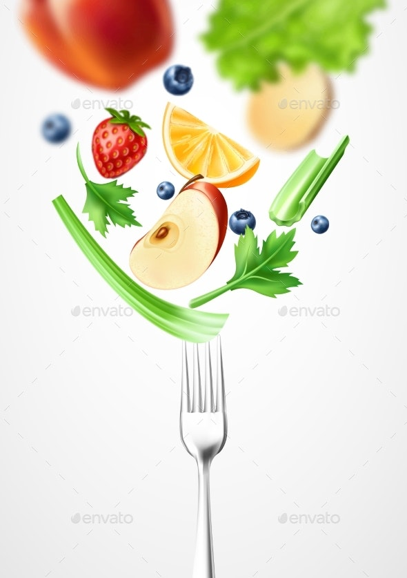 Vector Healthy Food Vegetable on Silver Fork - Food Objects