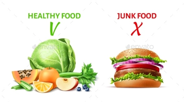 Vector Realistic Healthy and Junk Food Concept - Food Objects