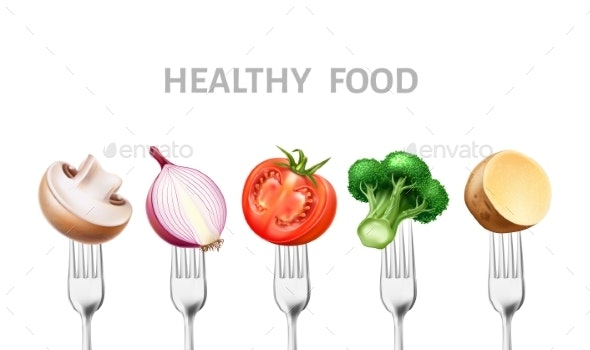 Vector Healthy Food Vegetable on Silver Forks - Food Objects