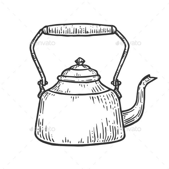 Old Teapot Kettle Sketch Engraving Vector