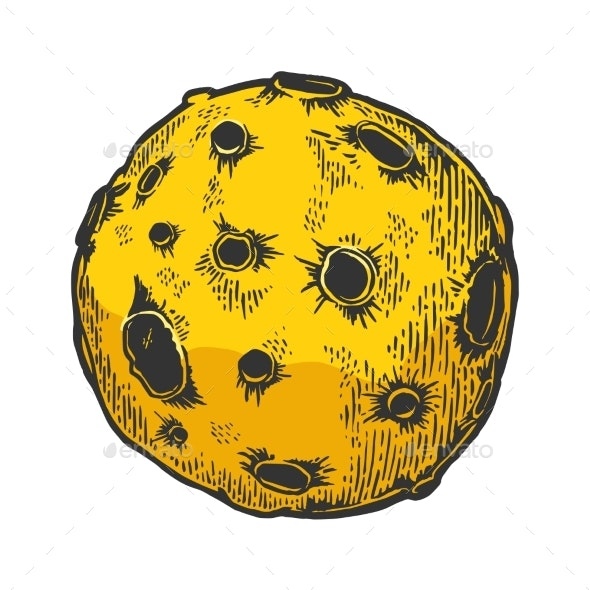 Planet with Impact Craters Color Sketch Engraving - Miscellaneous Vectors
