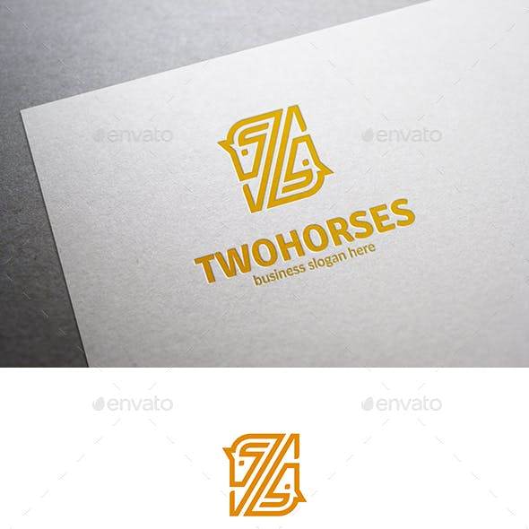 Two Horses Line Abstract Vector Logo