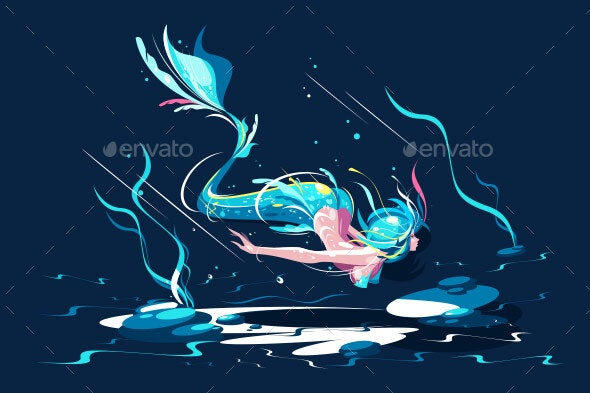 Swimming Fairy Mermaid - Animals Characters